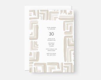 Adult Birthday Invitation / Simple Modern Party Invite / Simple Modern Party Invite / Neutral Taupe / Engagement, Graduation, Bridal Shower