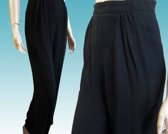 UNWORN 80s MOSCHINO Formal Womens Pants Waist 26 Black - Made in Italy - Gathered Pleat Front - WIde Leg - Free Shipping