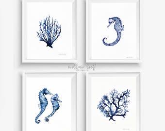 Watercolor Print BUNDLE set of 4 in Navy blue, Beach house art, Beach Print, Beach Art, Coral Print, Wall Art, Watercolor Print