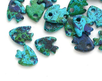 Ceramic Fish charm beads, Ocean Blue Green small fishes, greek nautical beach beads, 10mm - 25pc - 1930
