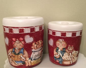 Gingerbread Canister Set...4 Piece Vintage Upcycled Canister Set...Kitchen Decor..Gingrbread Collector...Home Decor..