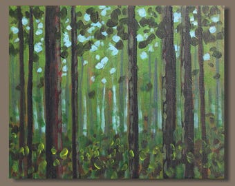 small painting, landscape painting, forest painting, tree painting, cottage art, impressionism, small art on canvas, gift, mini art, green