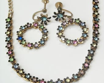 Vintage 1950's Black Enamel Flowers Pink Yellow Blue Green Rhinestone Mid Century Costume Jewelry Necklace & Hoop Earrings Gift For Her
