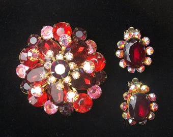 Red Pink & AB Rhinestone Vintage Beau Jewels Demi Parure Brooch Pin Earrings 1950's Hollywood Glamour Mid Century Costume Jewelry Gift Idea