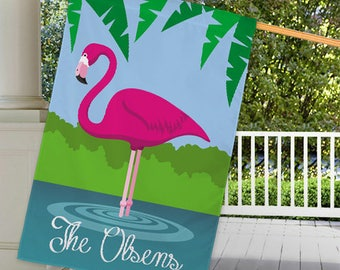 Personalized Pink Flamingo House or Garden Flag Custom Name Gift