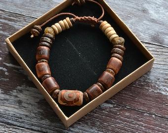 Men's Natural Bracelet - Guava, Amber and Coconut - Rustic Bracelet -  Gifts for Him