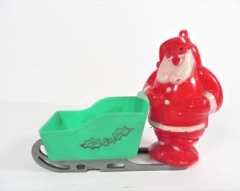 1950's Vintage Christmas Santa Claus Candy Container - Santa Claus in Sled Candy Container