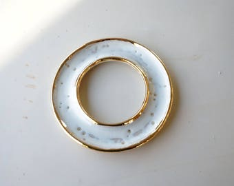 Gold and white donut dish. Circular ceramic and gold dish. The Object Enthusiast. Gold and white ceramic. Valentine's day gift. Gift for her