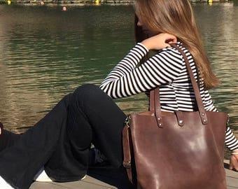 Leather tote bag/Shopping bag/Large crossbody bag/Shopper/Dark brown leather shoulder bag