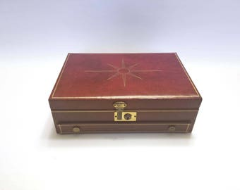Vintage Bond Street Jewel Case Corporation New York  Blood Red Jewelry Box with Key