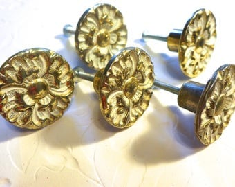 Vintage 70s knobs White Gold floral motif set of 5