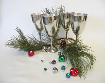 Silverplate Wine Glasses Goblets - Set of 4 Silverplate Goblets - Christmas Table Decor, Holiday, Dining Room Accessory