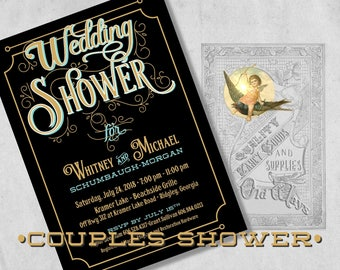 Couples Shower Invitation - Black and Gold, Old Fashioned Typography - Printed Vintage Wedding Shower Invitations - Unique Design