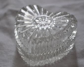 Vintage Heart Shaped Glass Trinket Pot and Lid