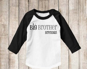 ON SALE Big Brother Personalized T Shirt Big Brother Raglan shirt