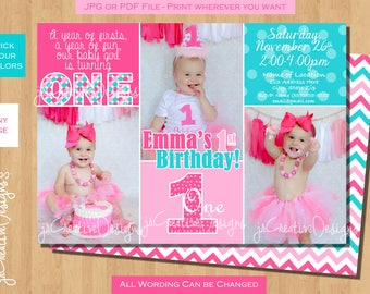 first birthday invitation girl 1st birthday invitation 1st birthday girl invitation turquoise Blue Green  Pink printable photo Custom Colors