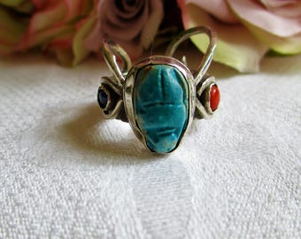 Antique Art Deco Egyptian Revival Turquoise Beetle Scarab Ring With Coral & Lapis Size 7 Most Unusual!Vintage Jewelry By Vintagelady7