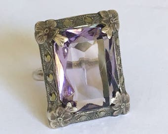 Vintage Antique Art Nouveau Ring Purple Stone Amethyst Sterling Silver Marcasite 5.5