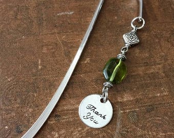 ON SALE Thank You Bookmark, Green Glass, A Useful Gift, Teacher Gift, Book Club, Gratitude, Thanks, Aide, Caregiver, Tutor, Professor, Docto
