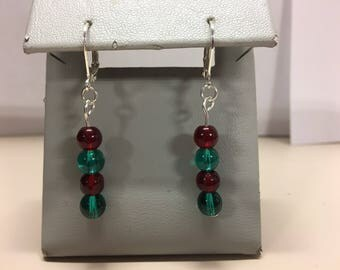 Red and green glass earrings