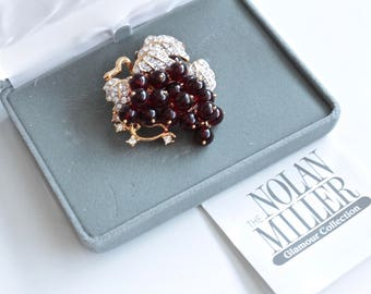 Nolan Miller Glamour Collection  Bead and Crystal Grape Cluster Pin/Brooch , Original Box  # 1561
