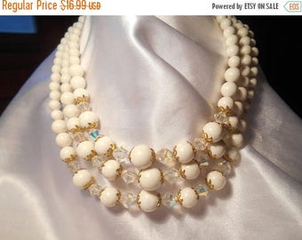 50% Off Sale Triple Strand White Beaded Necklace With Faceted AB Beads