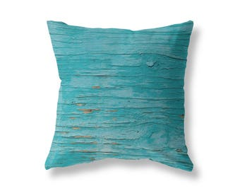 Turquoise Accent Throw Pillow, Wood Texture Photograph