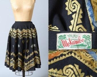 1950s Hand Painted Mexican Full Circle Skirt Mokambo Rockabilly Gold Tribal Pinup Souvenir Skirt