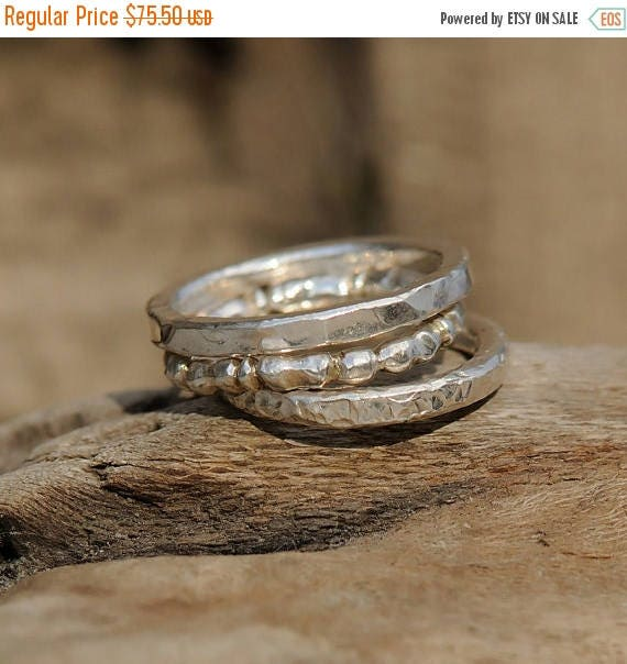 ON SALE Bohemian Stacking Rings - Sterling Silver Stacking Rings - Stacking Ring set of Three - Boho Stack Rings
