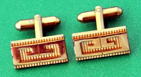 Vintage GIVENCHY GOLDTONE  Men'S CUFFLINKS Monogram G Paris New York 1980 Stamp #Givenchy