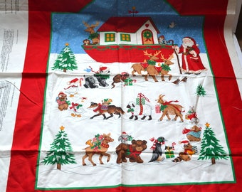 "Vintage 70s Santa and the Christmas Ark Wall Hanging Fabric Panel Christmas quilt cotton fabric,Cranston print panel 35"" x 44.5"" new"