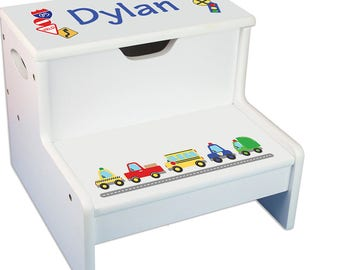 Personalized Cars and Trucks White Childrens Step Stool with Storage Motor Transportation Automobile Red Blue Yellow step-whi-223