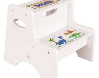 Personalized Dinosaurs White Two Step Stool Jurassic Park World T-Rex Bronto Theme Décor Green Boys Boy fixe-whi-217