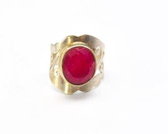 Raw Ruby Silver Ring