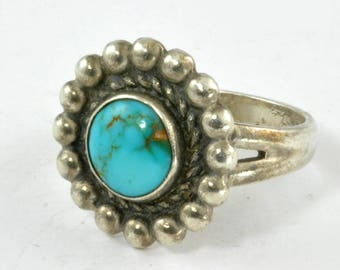 Vintage Sterling Silver Pinkie Ring with Gem Grade Turquoise C1950 - Size 5.5 - Fred Harvey Era