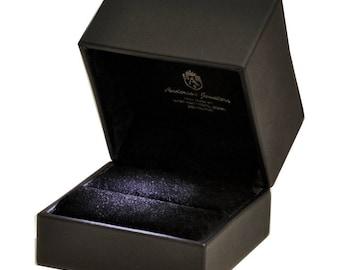 Large Black Leatherette LED Lighted Engagement Wedding Ring Presentation Ring Box