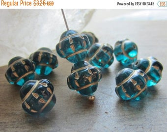 ON SALE Czech Glass Mulberry Bead 10mm Teal Gold Inlay QTY 10