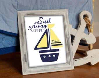 NAUTICAL NURSERY DECOR, Baby boys wall art, Hamptons bedding, Childrens nautical Prints, Navy yellow, Personalized gift, Ocean Bathroom boat