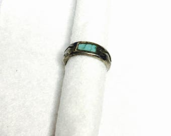 Vintage turquoise Ring size 4.5, Pewter, Native Design, Clearance Sale, Item No. B415