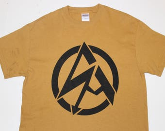 Punk Anarchy Symbol T-shirt - Seditionaries -Lightning tshirt- Mustard Yellow- Sand - Mens Medium 40 -cotton tee