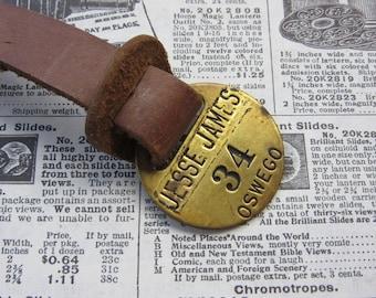 Vintage Brass Metal Tag Number 34 Tag JESSE JAMES Tavern Hotel Room Oswego Oregon #34 Antique Original Leather Fob Keychain Room # Key Chain