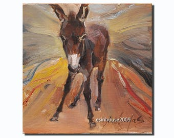 Western black donkey portrait Original oil Painting  on canvas panel 15CMX15CM