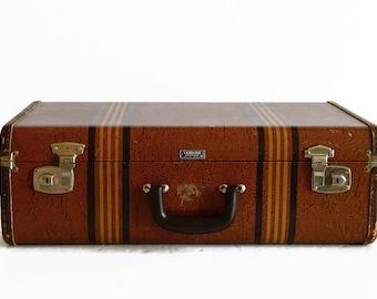 vintage striped brown suitcase 1930s luggage Samsonite