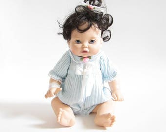 Newborn Baby So Beautiful Doll Vintage Girl with Blue Eyes, Black Hair