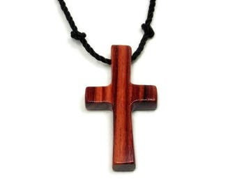 Mens Cross Pendant Necklace, Mens Jewelry Cross, Men's Cross Necklace, Tulipwood Pendant, Wood Cross Pendant, Jewelry for Men, Womens Cross