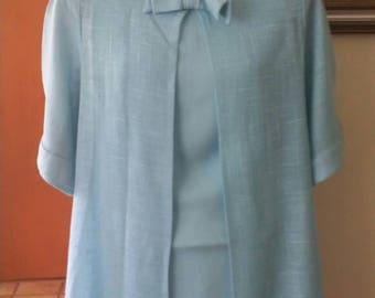 Jackie O Inspired 1960s Jacket Dress/Mother of the Bride/Vintage Dress/Light Blue Linen