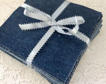 Denim squares - 33 - 6 1/2  Pre-cut Fabric - Rag Quilt kit - Patchwork projects - DIY quilt  - folds and fades from upcycled clothing