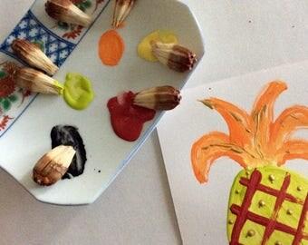 Natural Paint brush - Hawaiian Hala Brush - Pandanus Brushes - natural bristles - Mini size - stenciling - Eco friendly - gift for Kids