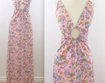 SALE Keyhole Cutout Maxi Nightgown - Vintage 1970s Sexy Floral Lingerie in Medium by Kaymar
