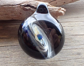 Blue Hand blown glass pendant necklace, galaxy pendant, glass jewelry, Blue  heady pendant, trippy glass pendant, unique pendant for her